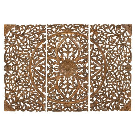 3 Piece Hanson Wall Decor Set Carved Wood Wall Art Wall Art Plaques Wood Wall Art