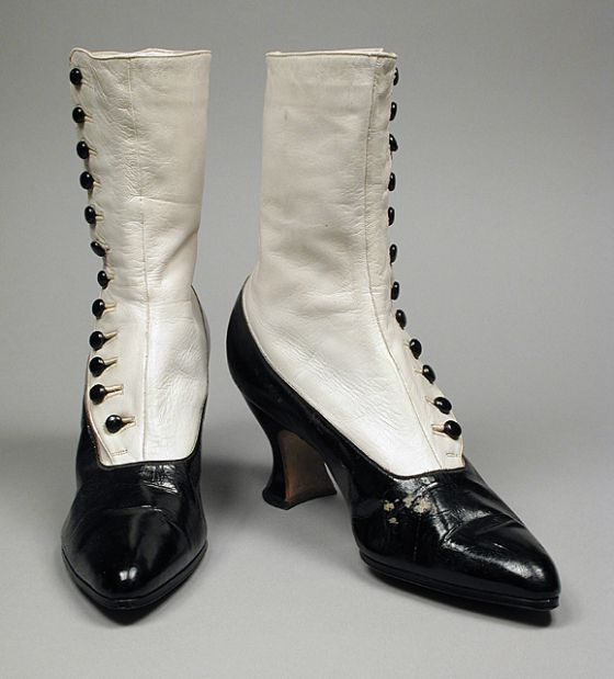 1910-1914, America - Pair of Woman's Boots by J. & T. Cousins Company, Gude's - Patent leather, kid leather, leather