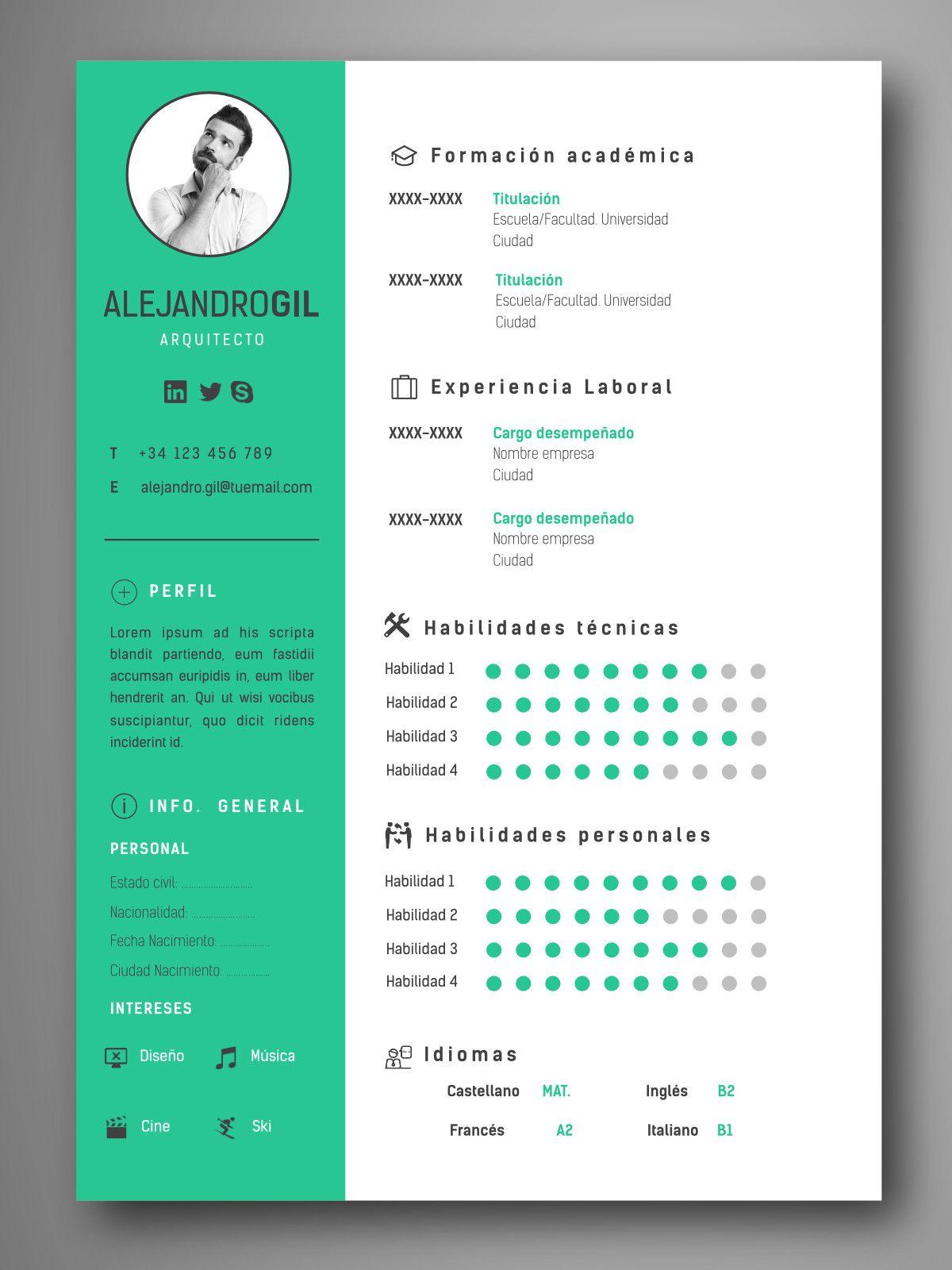 Descarga plantillas editables de Curriculum Vitae – CV visuales y ...