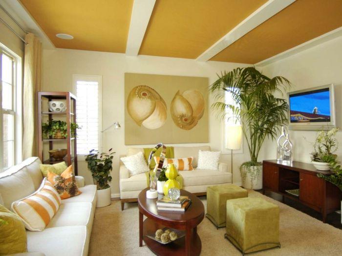 streichen ideen wohnzimmer decke farbig gestalten Innendesign - wohnzimmer gestalten gelb