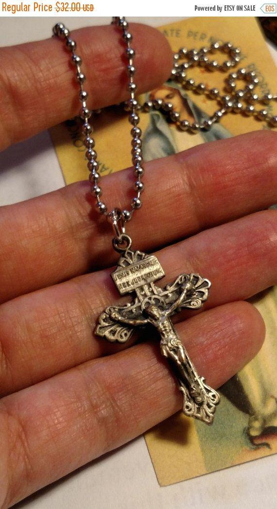 Art Deco Vintage Silver Crucifix Cross Pendant by Glamaroni
