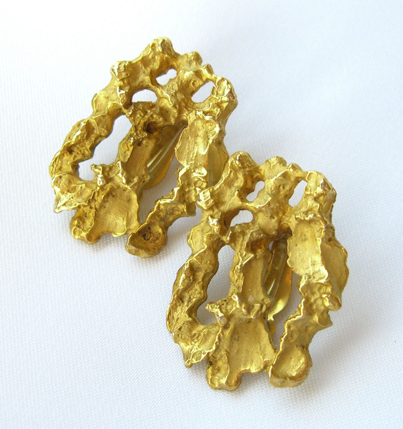 Vintage smithsonian earrings gold nugget replica museum jewelry