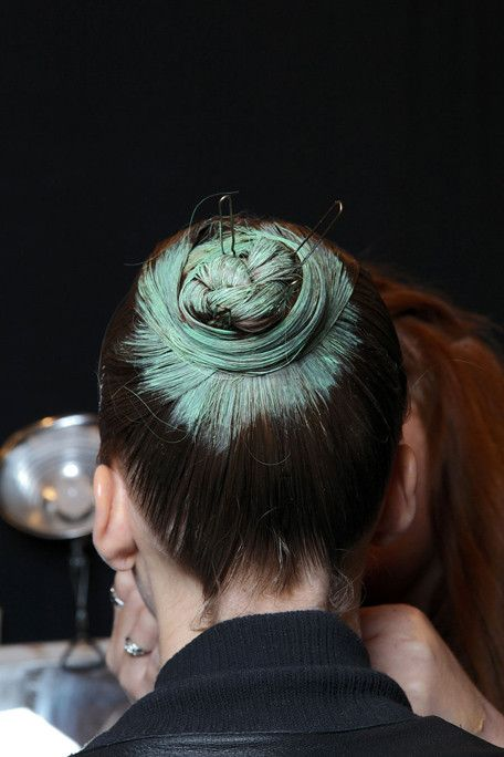 Spray-painted buns at Alexander Herchcovitch SS2011, by Rolando Beauchamp/Bumble