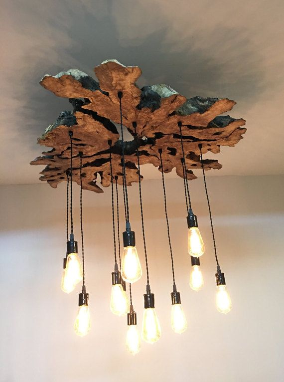 Large Live Edge Olive Wood Chandelier Light Fixture With