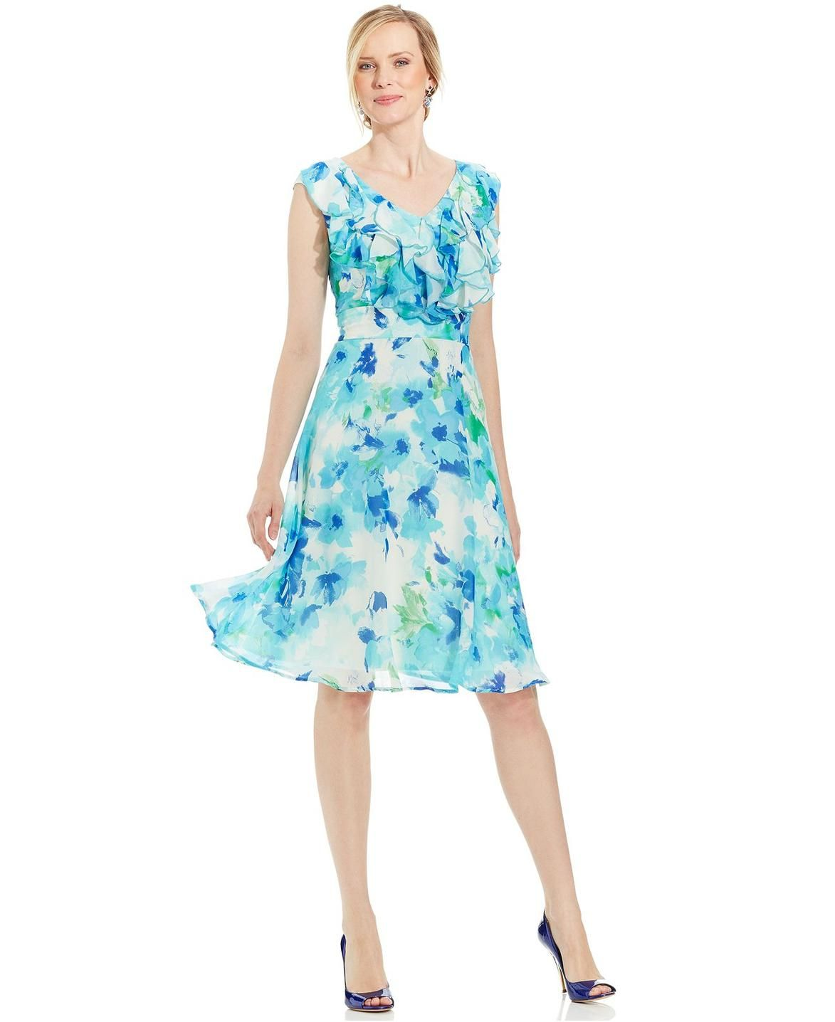 Connected Petite Floral-Print Ruffled Dress http://picvpic.com/women ...