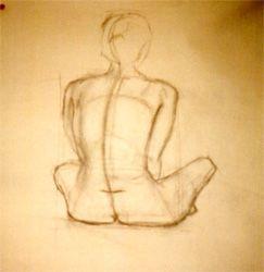 L. Brown III - Nude sitting (charcoal on newsprint)