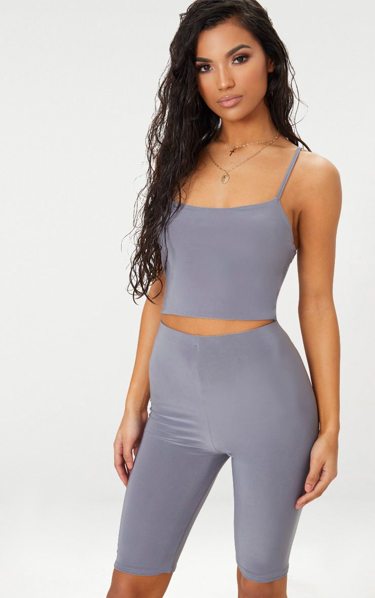 Grey Slinky Longline Bike Short Fashion Fashion Clothes Women