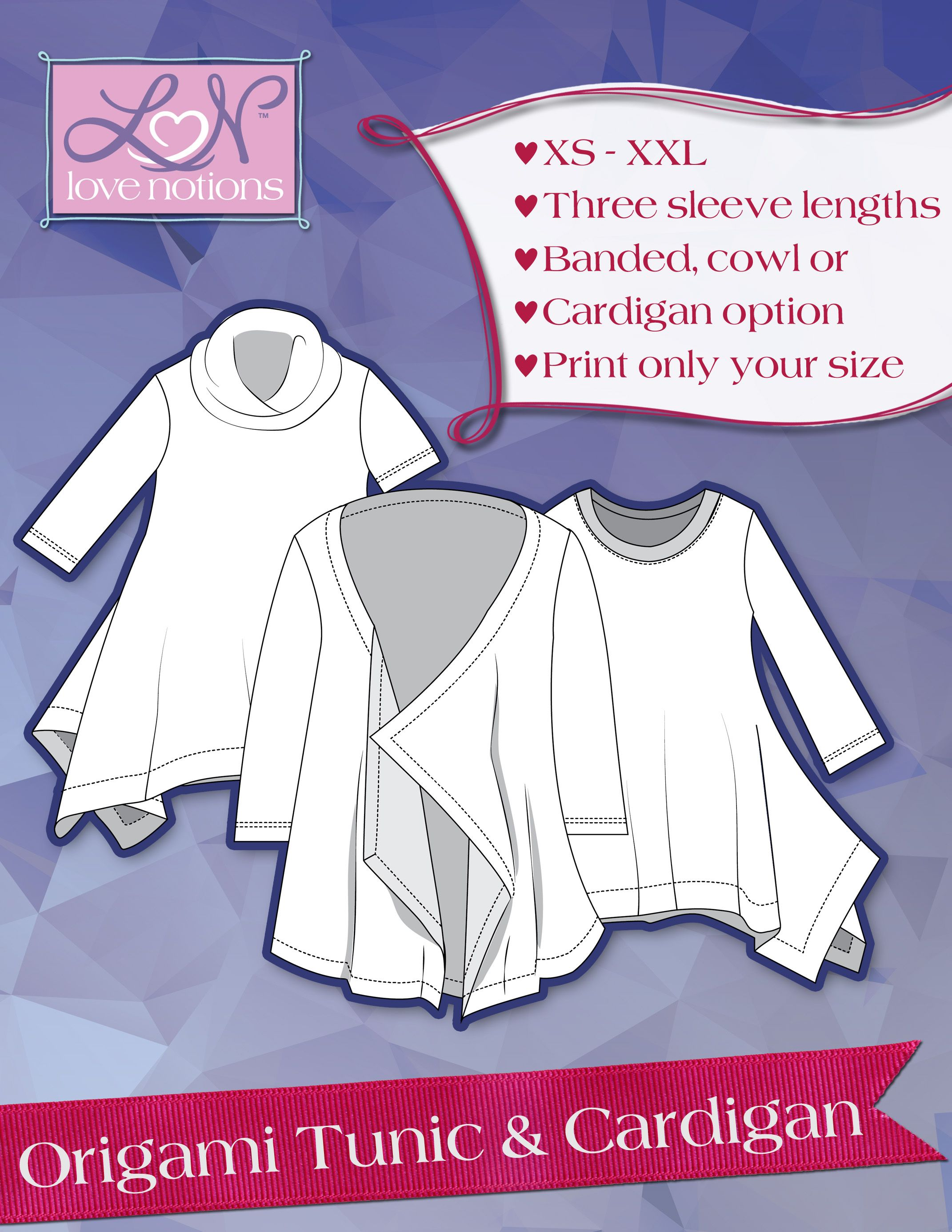 Origami Tunic & Cardigan for Ladies | Love Notions ... - photo#15