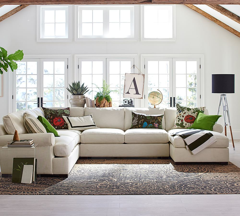 Townsend Roll Arm Upholstered 4-Piece Sectional With Chaise ...