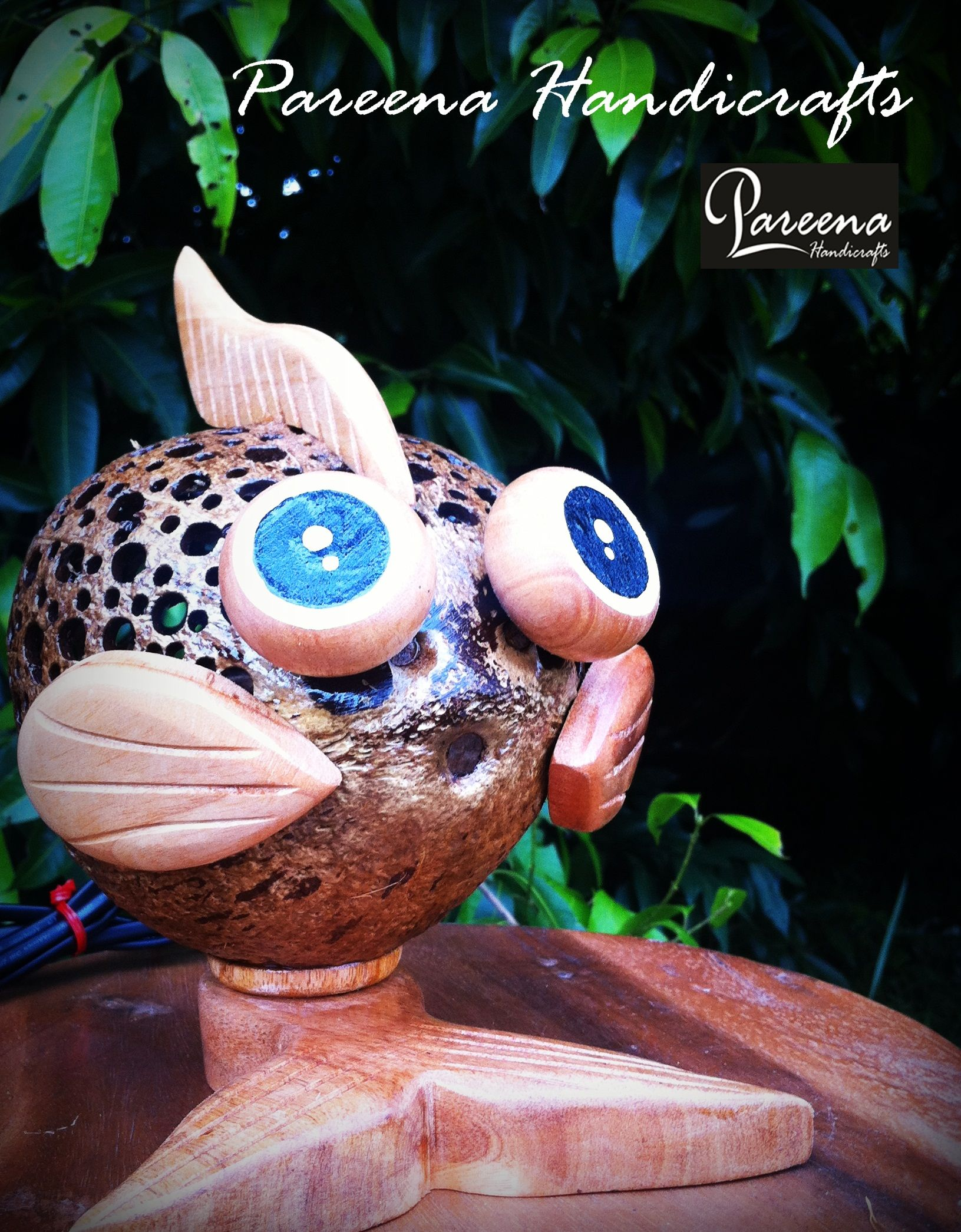 Pareena Handicrafts Coconut Shell Lamp Fish Shape Handmade Products