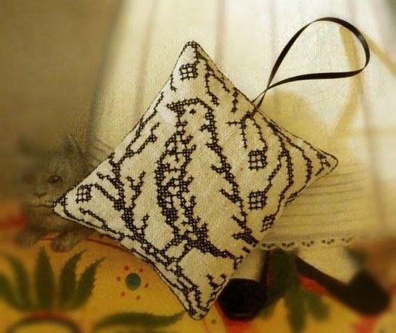 Blackwork Bird Primitive Christmas Ornament. $9.00, via Etsy.