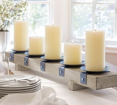 Aiden Centerpiece Pillar Holder Potterybarn Wooden Candle