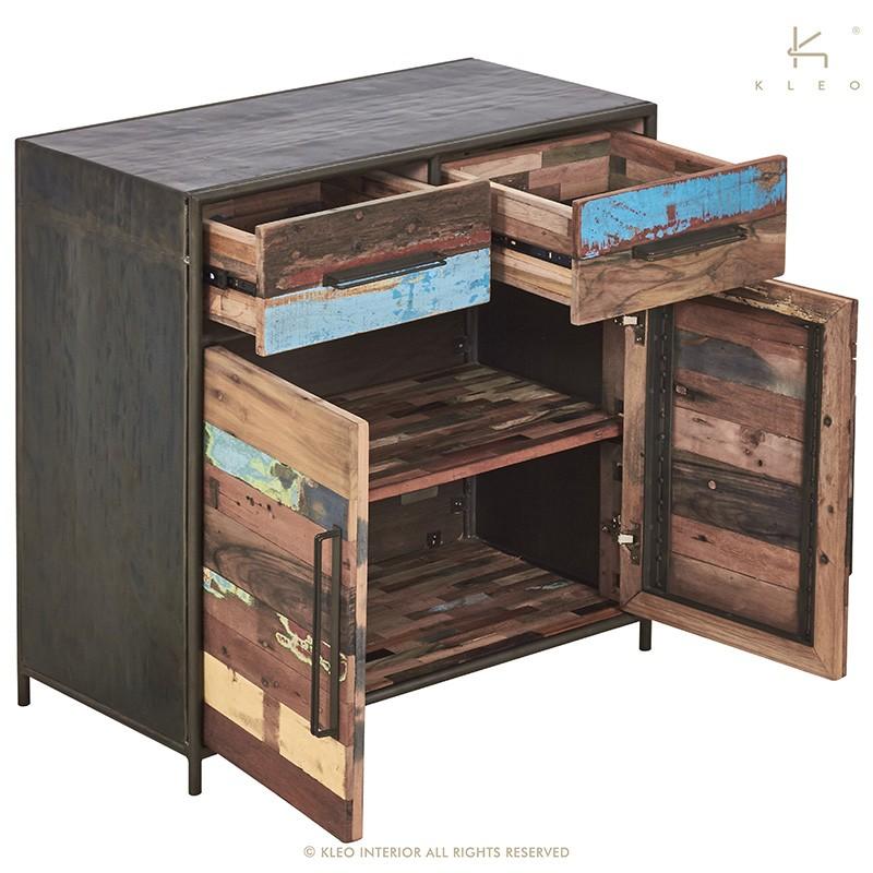 Buffet Industriel Drum 2 Portes 2 Tiroirs En Bidons Et Bois Recyle Home Design Decor Locker Storage Decor Design