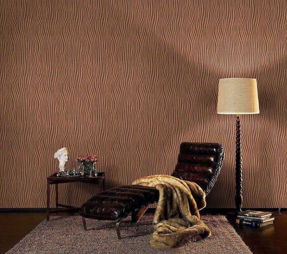 Unusual Copper Brown Wave Design Paste The Wall Blown Vinyl - Unusual wallpaper for walls