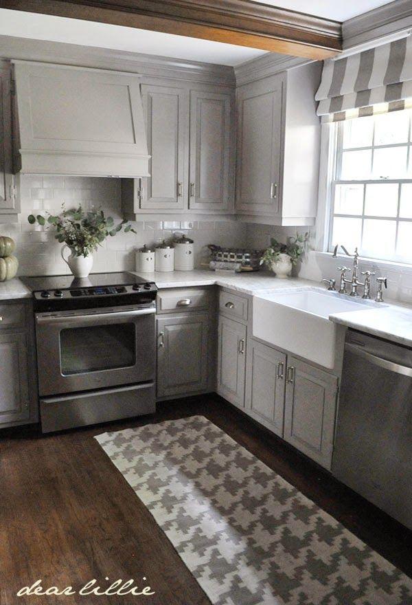 White Glass Subway Tile Grey Painted Kitchen Kitchen Cabinet