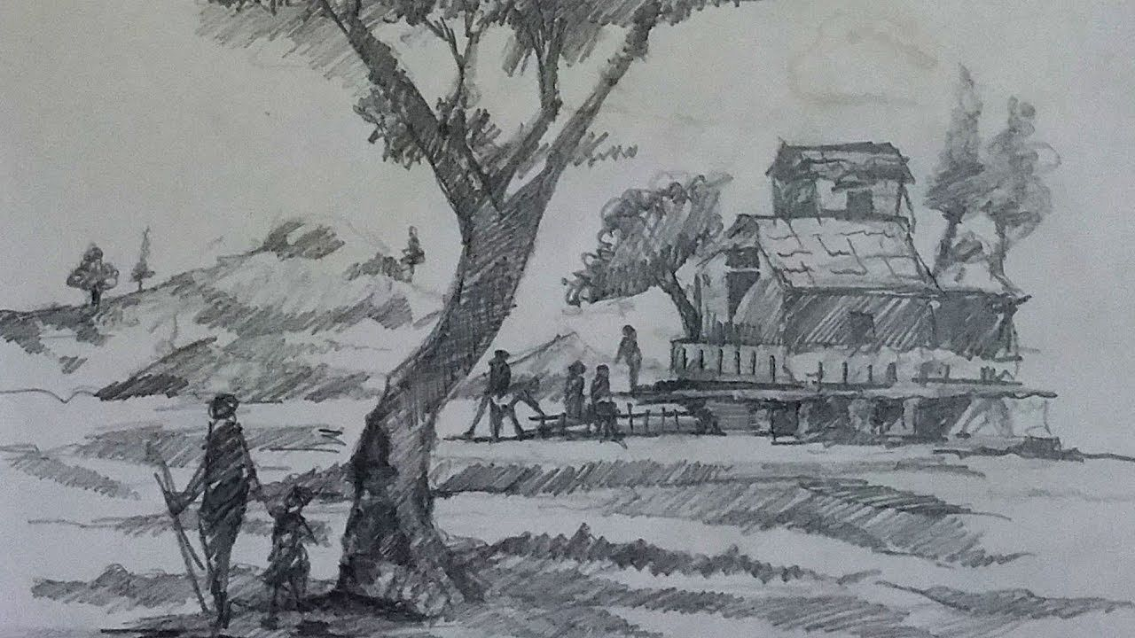 Pencil Sketch On Paper How To Draw Landscape Using Pencil On Paper Ste Landscape Sketch Landscape Pencil Drawings Drawings