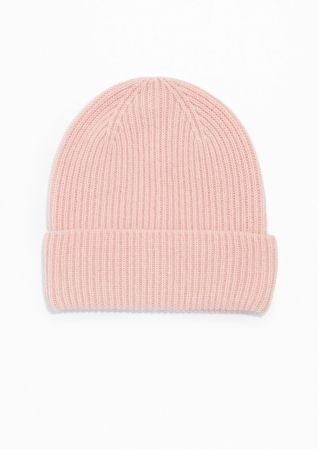 004b24948cf   Other Stories Cashmere Beanie in Pale Pink