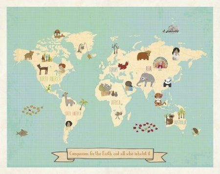 Global Compassion Map Canvas or Print  sc 1 st  Pinterest & explorer themed nursery - Google Search | my interior | Pinterest ...