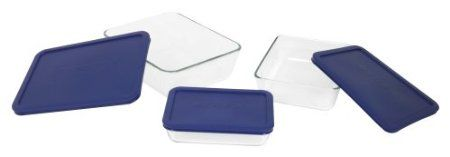 Set Includes A 3 Cup 6 Cup And 11 Cup Dish With Matching Blue Lids Made Of Nonporous Glass That Won T Warp Pyrex Storage Glass Food Storage Rectangle Storage