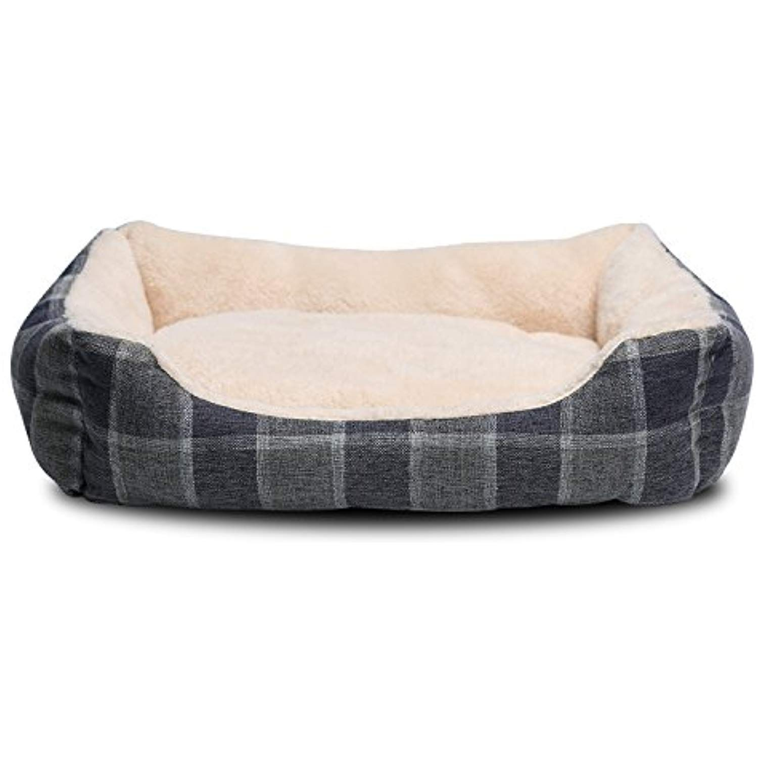 Jema Rectangle Pet Dog Sofa Bed Comfortable Two Sided Cashmere Cushion Lattice Patterned Linen Fabric Cover Square Bed For Dog An Dog Bed Dog Sofa Pet Sofa