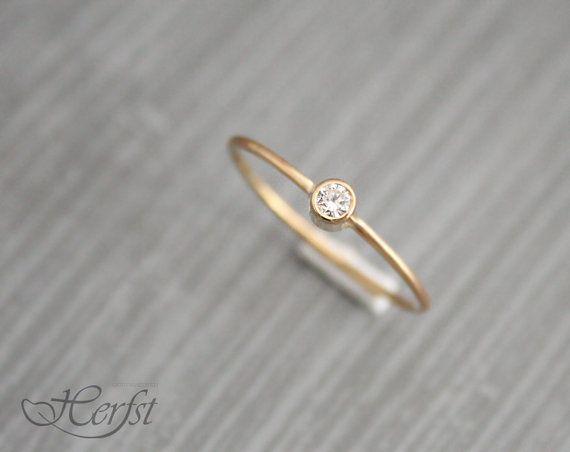 14 k solid gold Diamantring, Verlobungsring, Trauring, Diamantring, Handmade