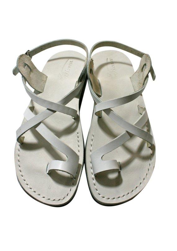 42c068bd8 White Roxy Leather Sandals For Men   Women - Handmade Unisex Sandals ...