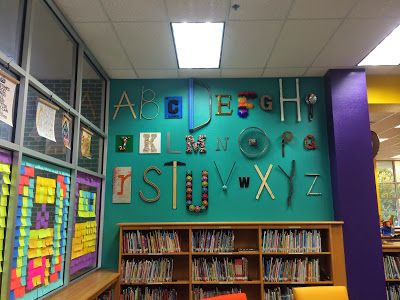 Alphabet Wall--have people look around and help find items to make ...