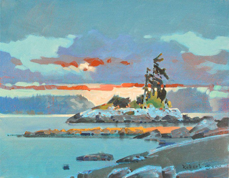 Late Light, Langara Island Formatting Painting acrylic on canvas    14 x 18 in