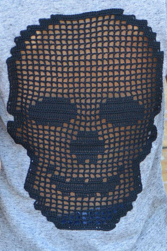 Handmade crochet skull t-shirt in black over grey / by SophieCRO