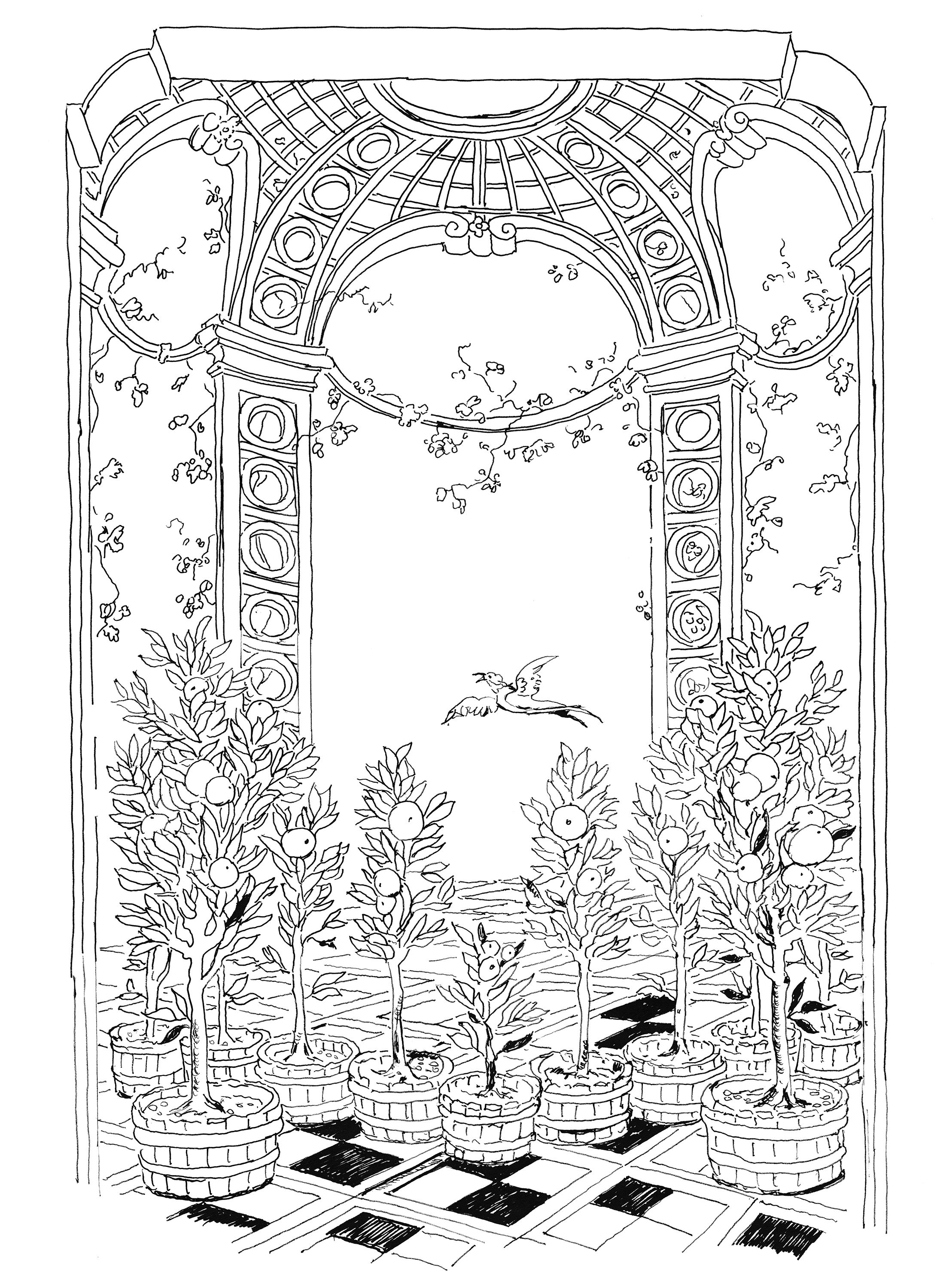 Lost Garden coloring book orangery by Pippa Rossi Adult coloring