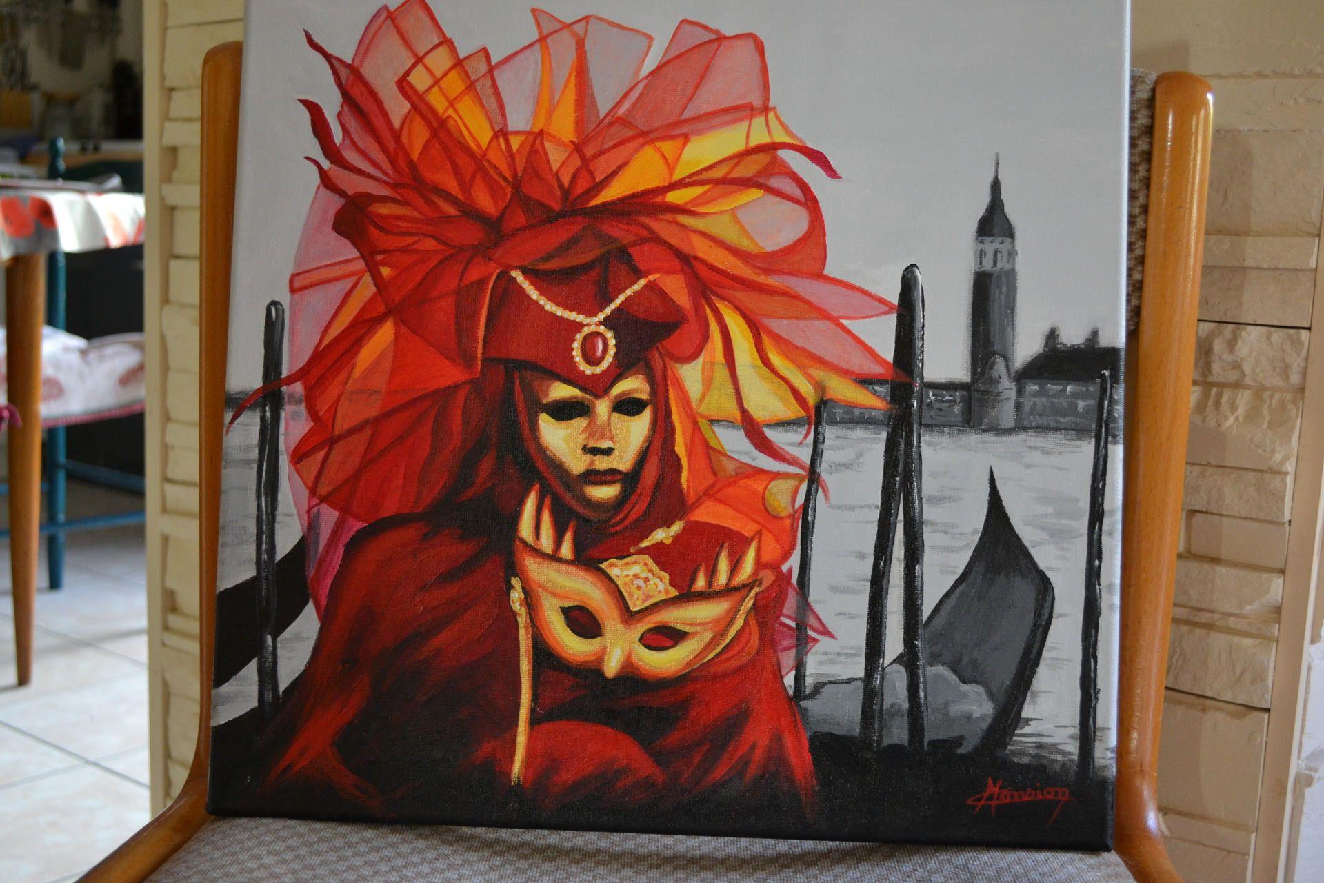 tableau peinture acrylique carnaval venise masque de venise rouge sur fond noir et blanc. Black Bedroom Furniture Sets. Home Design Ideas
