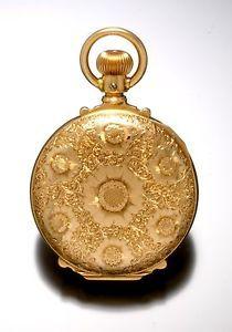 Victorian Lady's 6-Size, 14K Yellow Gold, Box Hinge Pendant Watch Circa 1889