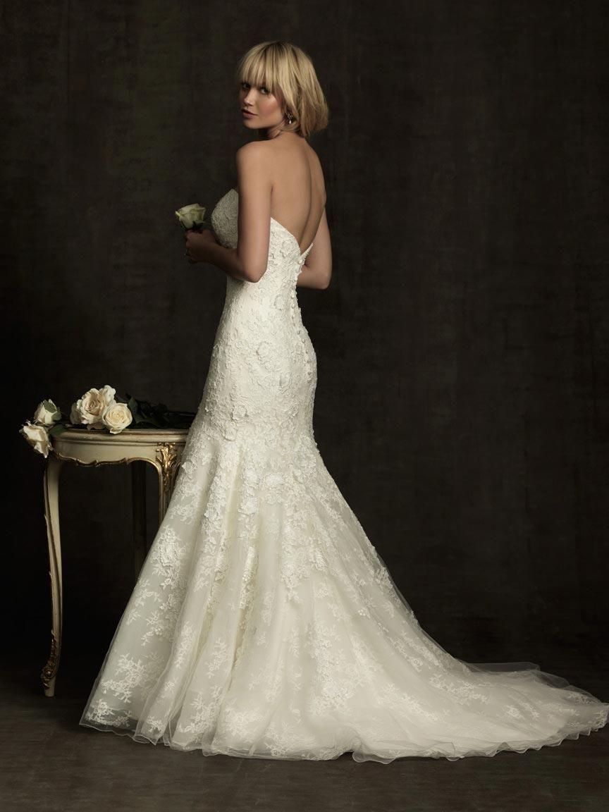 Romantic lace mermaid wedding dress empire waistline dream wedding