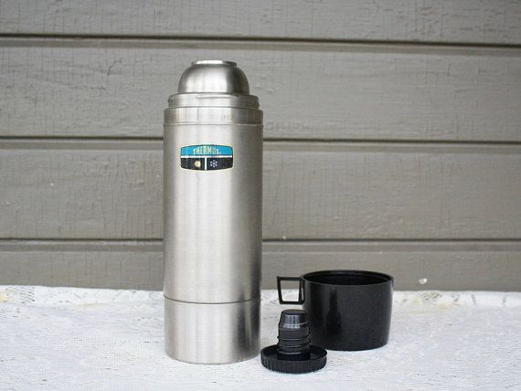 Vintage 1 Liter Thermos Vacuum Bottle Model No 2464 In Silver 1 Liter 1 05 Quart Capacity Unbreakable Stainless Steel Vintage Thermos Vacuum Bottle Vintage