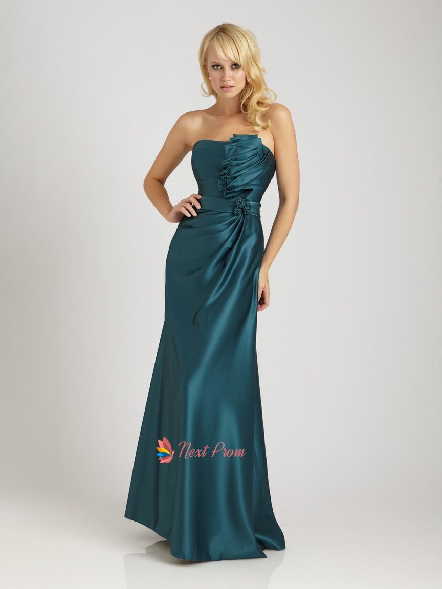 Dark Teal Prom Dresses Long,Teal Strapless Maxi Dress With Ruffled ...