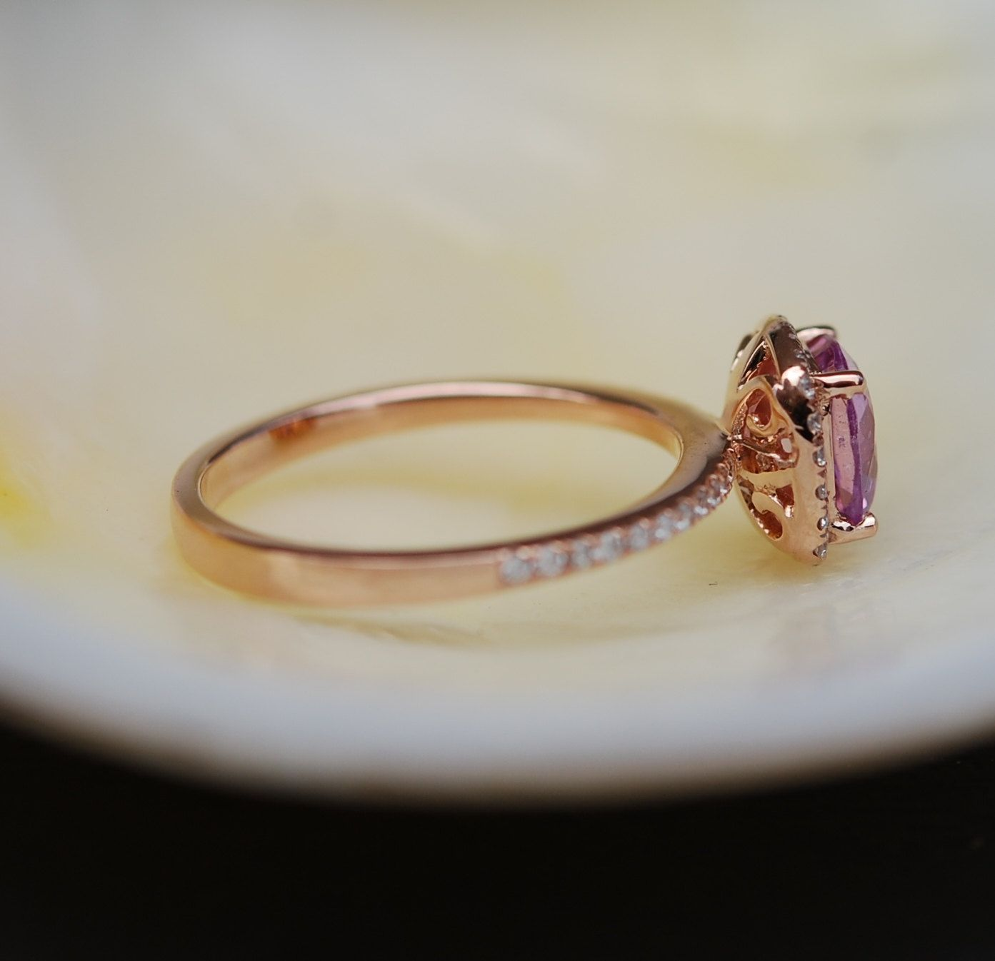 Rose gold engagement ring peach pink sapphire ring ct cushion