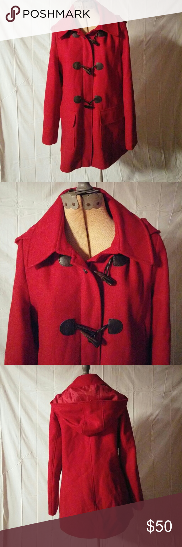 Tommy Hilfiger Red Jacket with Hood Sz M Red jacket