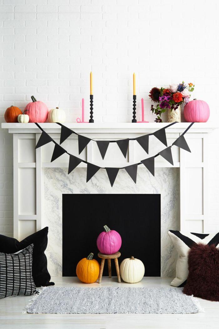 Halloween Deko fürs Wohnzimmer, Kürbisse bunt bemalen