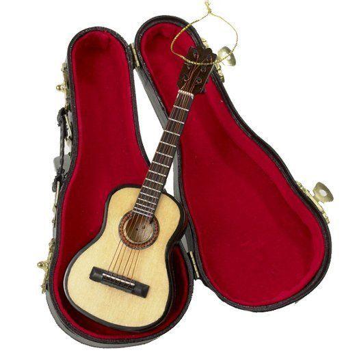 Kurt S Adler Acoustic Guitar W Case Musical Instrument Christmas Ornament Guitar Kurt Adler Wooden Ornaments