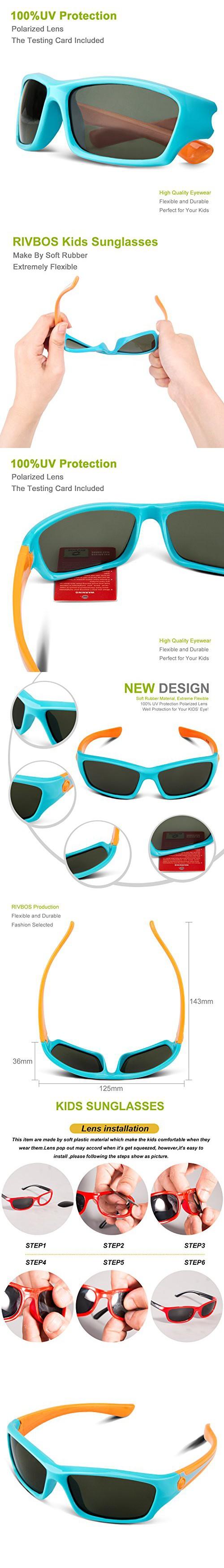 354bee28ed1 RIVBOS RBK025 Rubber Flexible Kids Polarized Sunglasses Glasses Age 3-10  (Blue)
