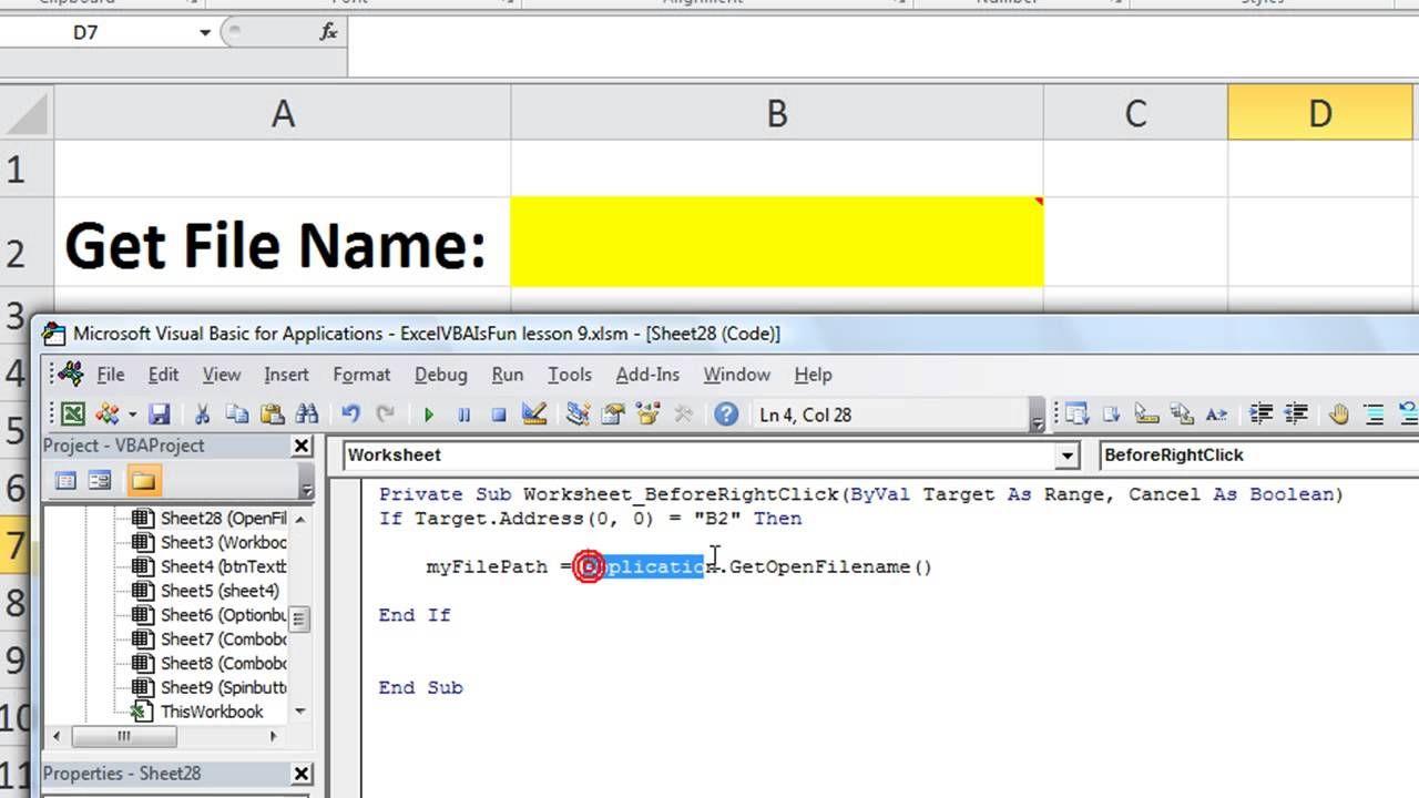 Excel Vba Basics 28 Get The Name Or File Path Open File Browser In Vba Excel Excel Shortcuts Excel Macros Add worksheet macro vba