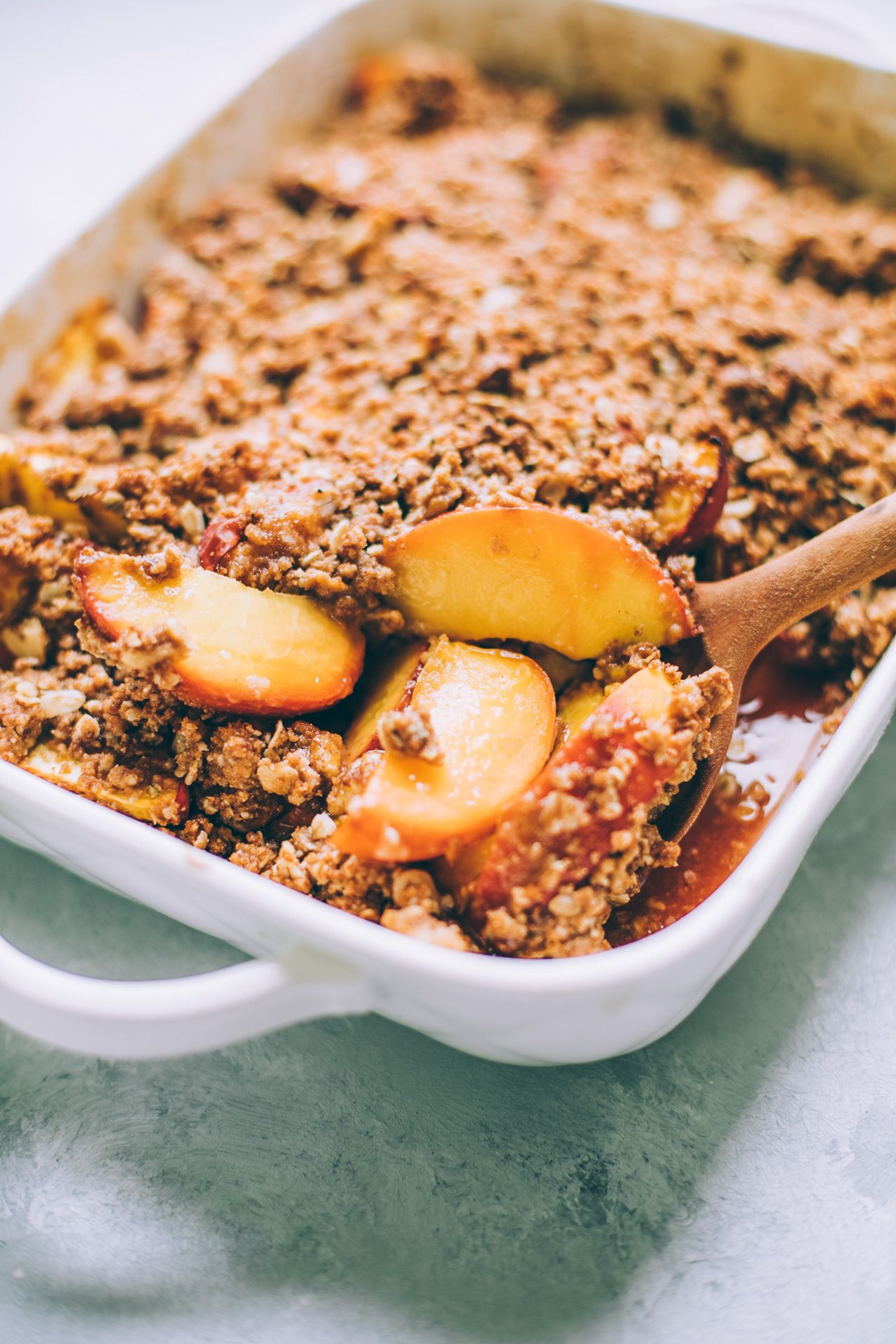 Vegan Peach Crumble Southern Style Vegetarian Summer