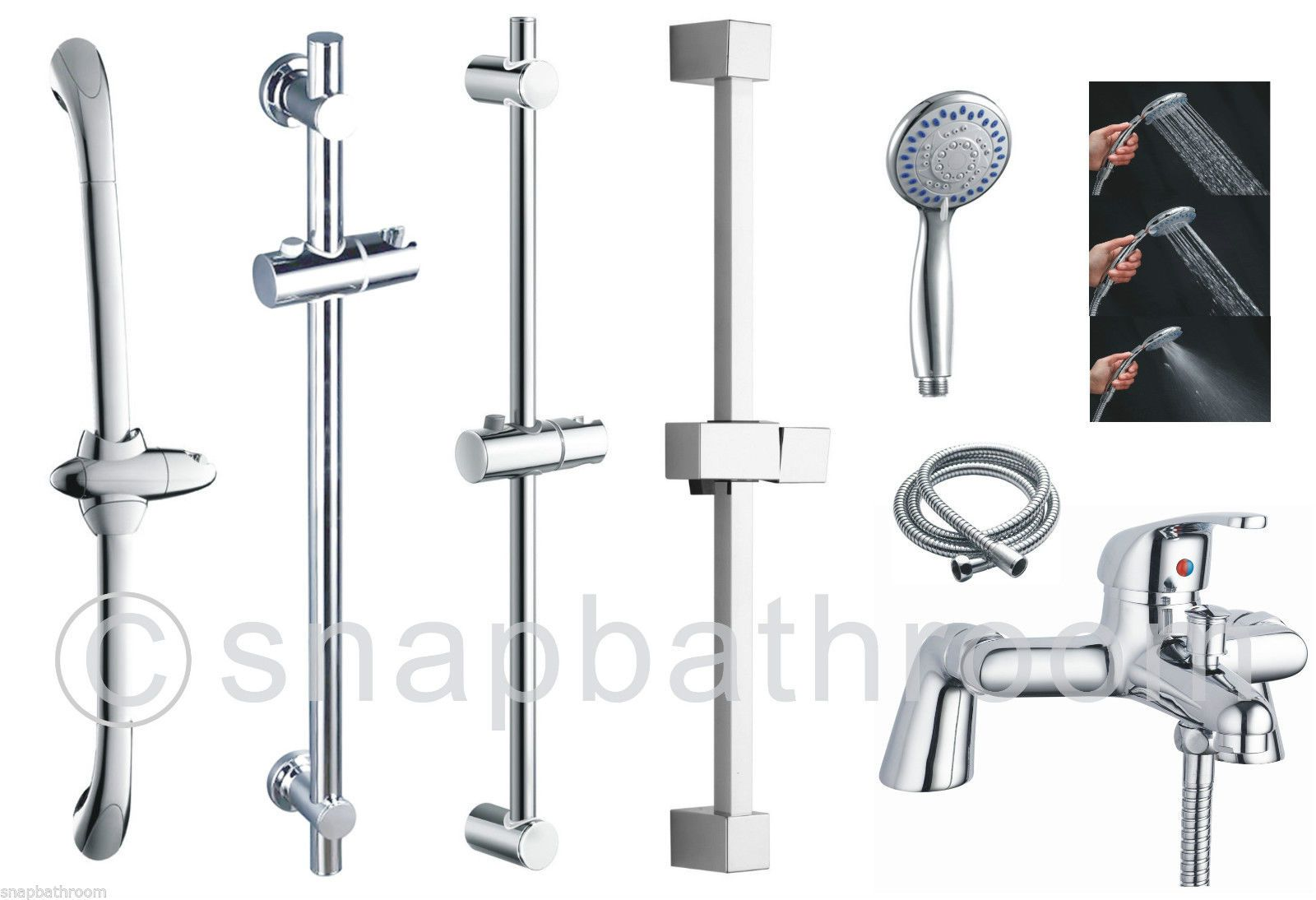 Adjustable Chrome Bathroom Shower Riser Rail Bar Bracket Shower