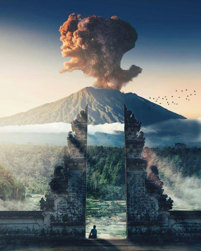 Masjestic Shot Of Mount Agung Eruption Bali Indonesia In 2019