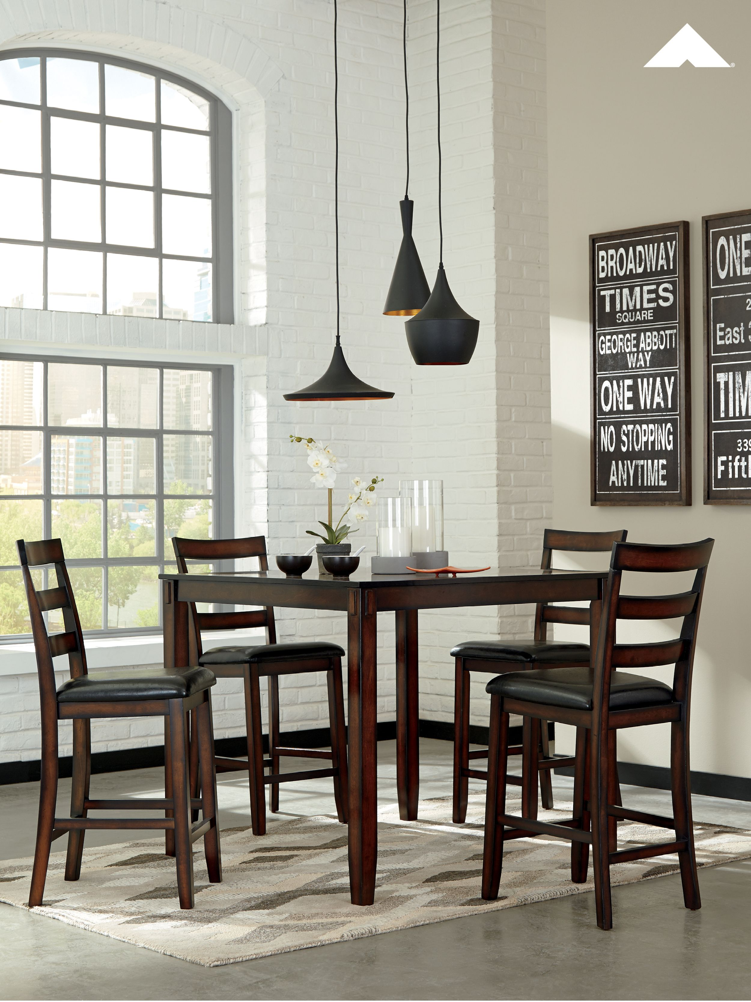 a1cf858ce06fe7 Counter Height Chairs · Place Settings · Coviar Dining Room Counter 5-Piece Table  Set | This counter table set raises the