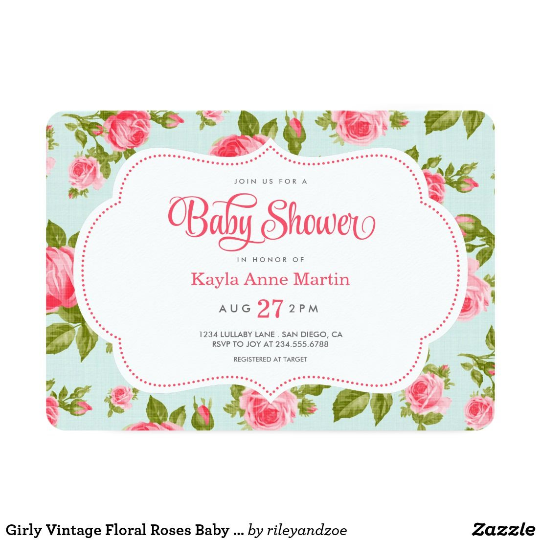 Girly Vintage Floral Roses Baby Shower Invitation Sweet and modern ...