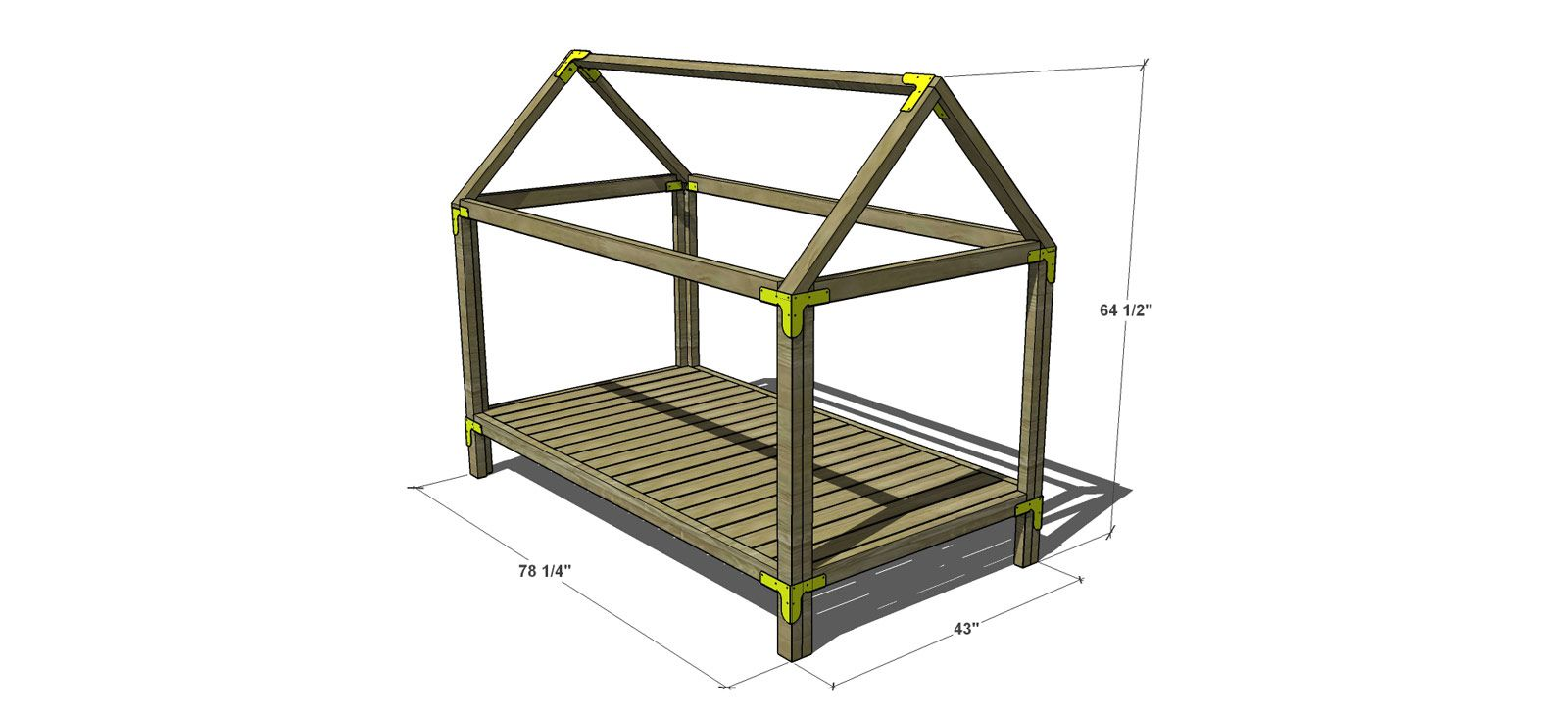 Free diy plans to build a twin sized house bed and