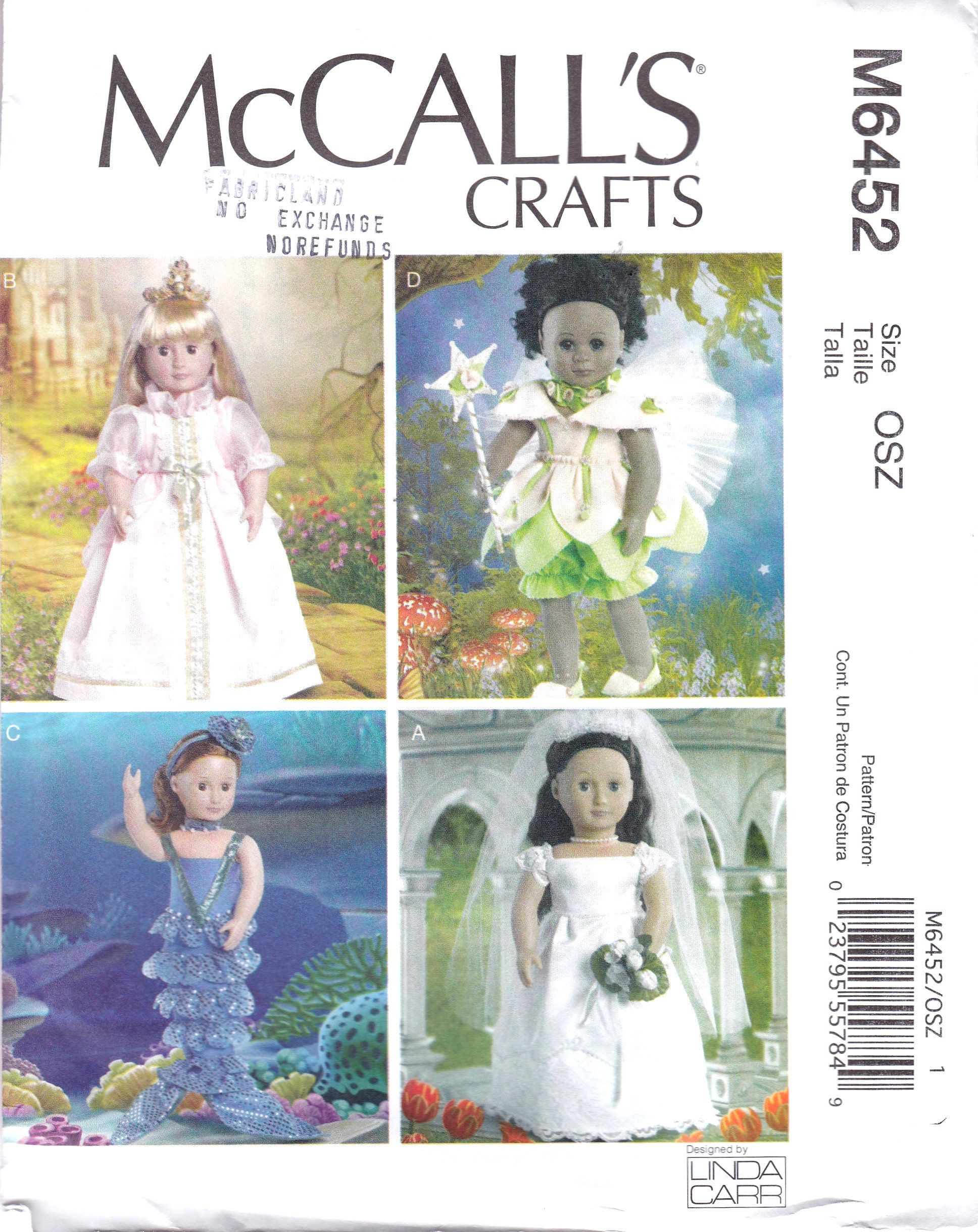 18 Inch Doll Clothes, Mermaid Gown, Wedding Gown, Fairy Outfit and princess Outfit, McCalls 6452, Linda Carr Designer Doll Clothes, Uncut #18inchdollsandclothes