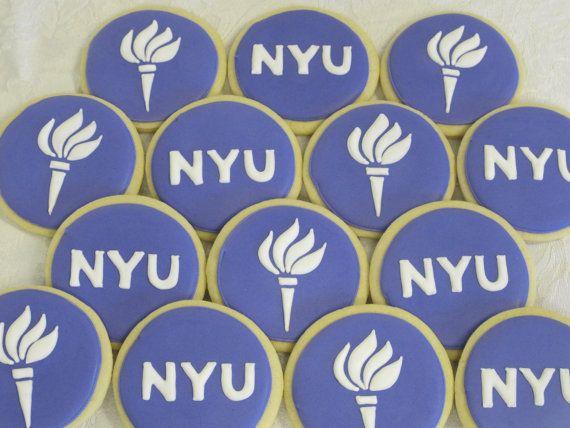 Nyu N Y U New York University Logo Cookies By Martaingros 30 00 Logo Cookies Graduation Party Customer Gifts