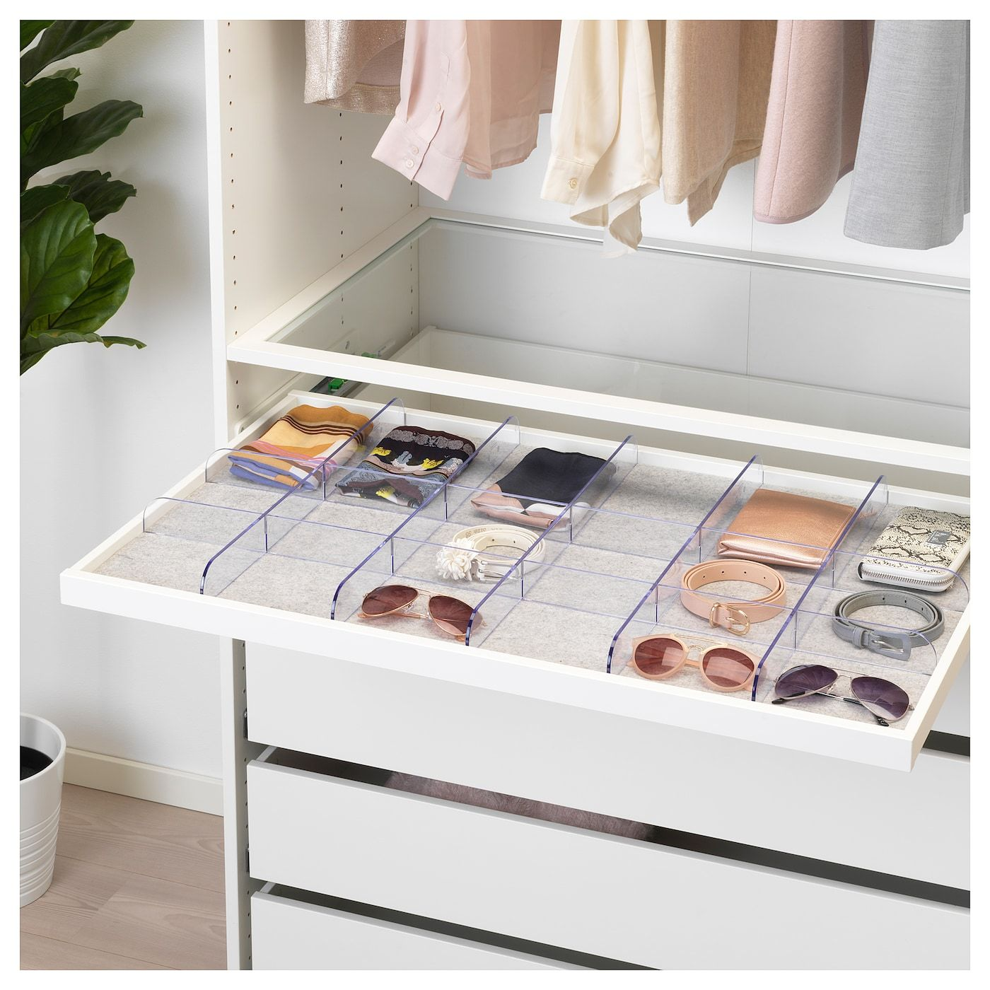 Komplement Pull Out Tray With Divider White Clear 39 3 8x22 7 8 Ikea Ikea Komplement Closet Remodel Drawer Liner